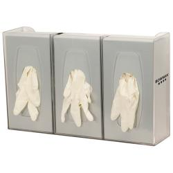Glove Dispenser, triple, divided, frosted plastic