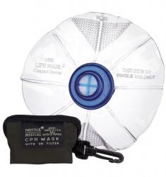 Compact CPR Mask with One-Way Valve in Vinyl Zippered Key Chain Bag